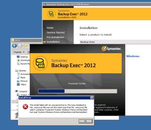 Backup Exec 2012 Error